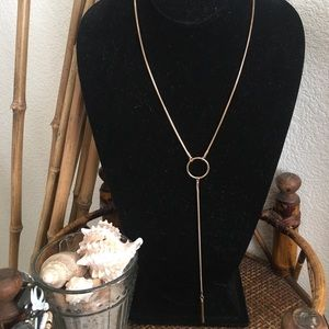 VINTAGE Gold Lariat Circle Necklace